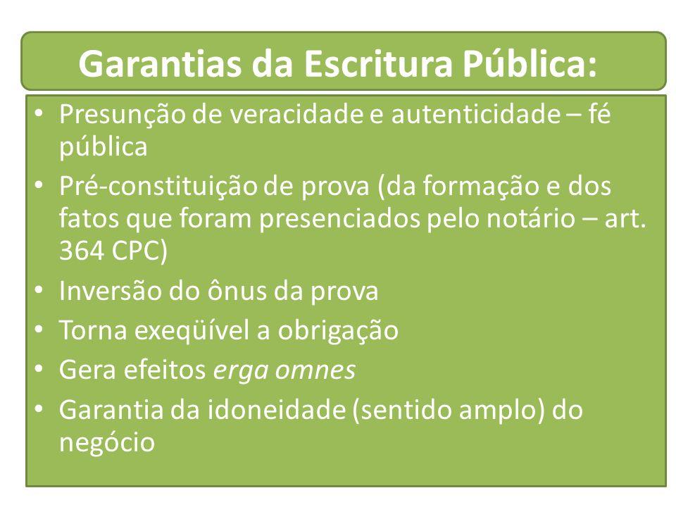 Garantias da Escritura Pública: Presunção de veracidade e autenticidade – fé pública Pré-constituição de prova (da formação e dos fatos que foram pres