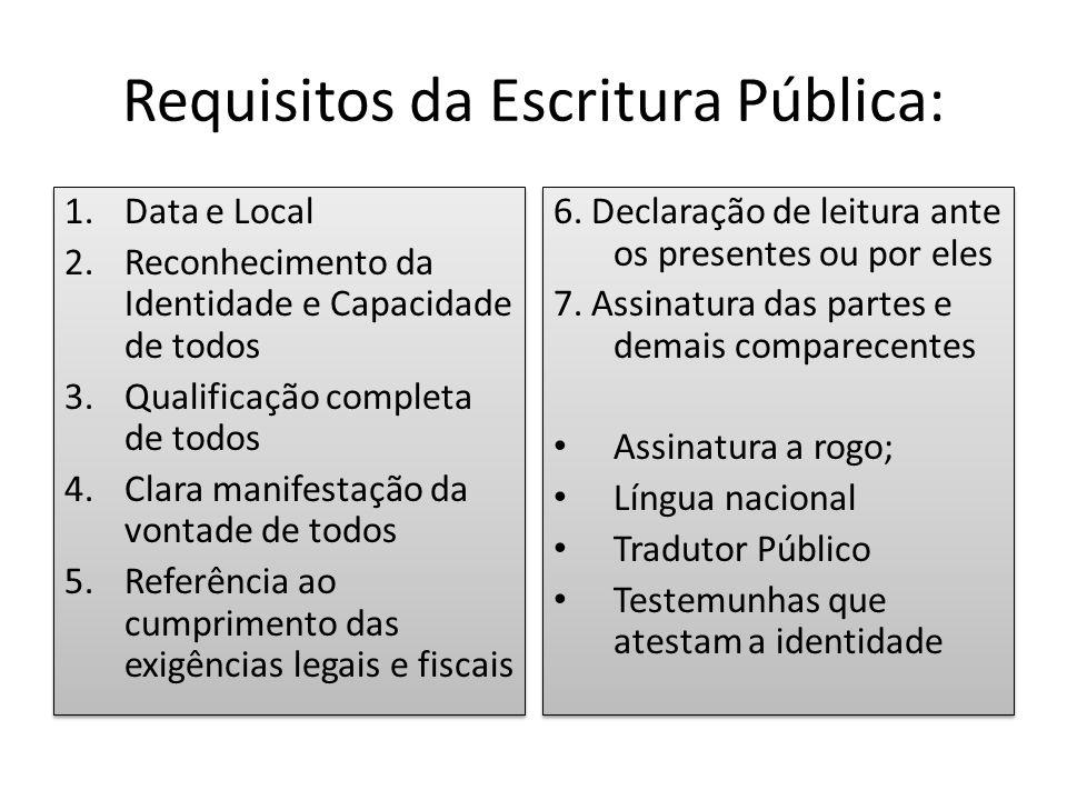 Requisitos da Escritura Pública: 1.Data e Local 2.Reconhecimento da Identidade e Capacidade de todos 3.Qualificação completa de todos 4.Clara manifest