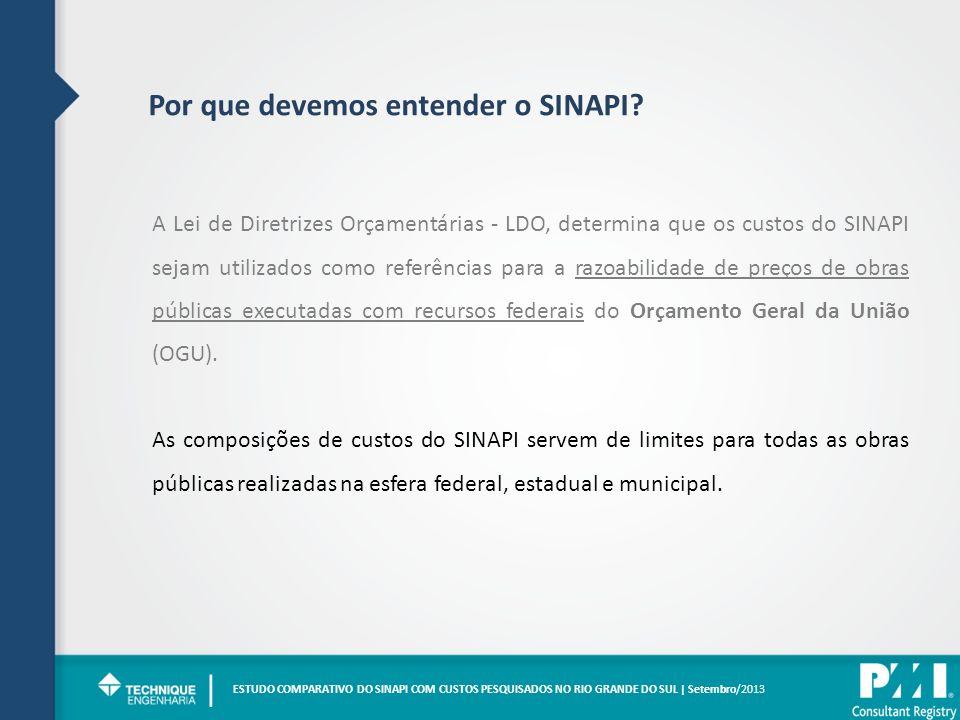 Por que devemos entender o SINAPI? | A Lei de Diretrizes Orçamentárias - LDO, determina que os custos do SINAPI sejam utilizados como referências para