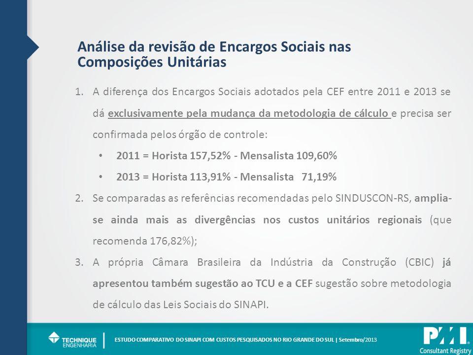 Análise da revisão de Encargos Sociais nas Composições Unitárias 1.A diferença dos Encargos Sociais adotados pela CEF entre 2011 e 2013 se dá exclusiv