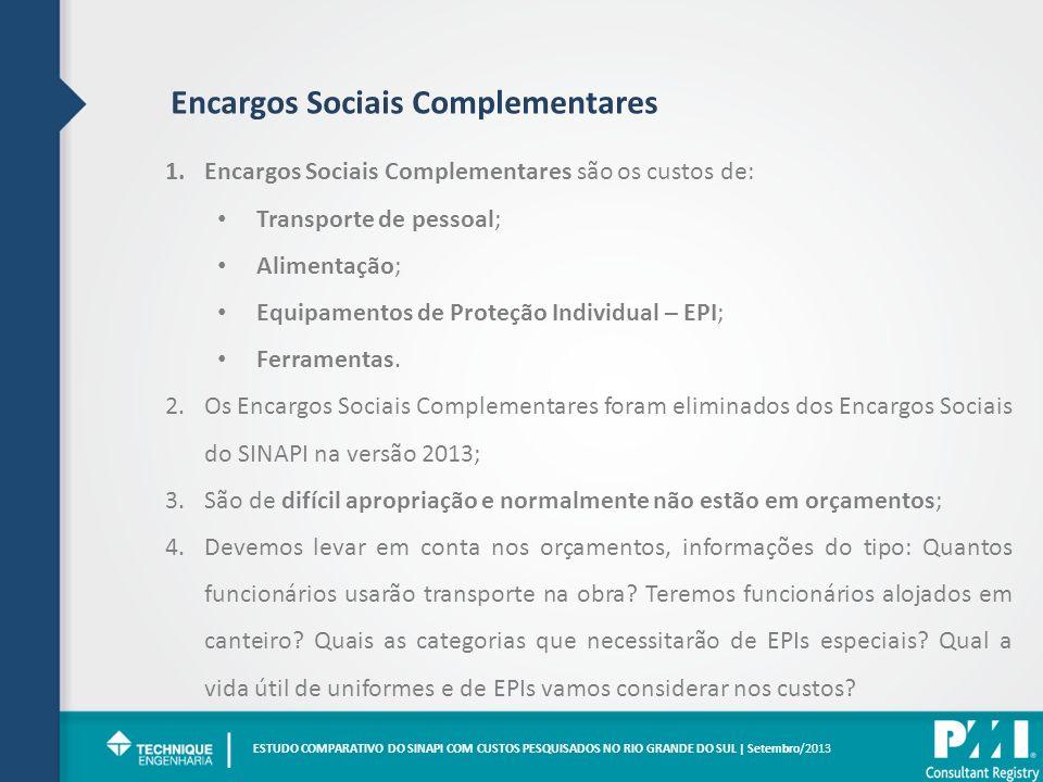 Encargos Sociais Complementares 1.Encargos Sociais Complementares são os custos de: Transporte de pessoal; Alimentação; Equipamentos de Proteção Individual – EPI; Ferramentas.