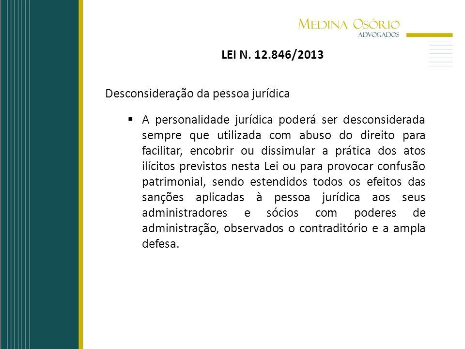 LEI N. 12.846/2013 Desconsideração da pessoa jurídica A personalidade jurídica poderá ser desconsiderada sempre que utilizada com abuso do direito par