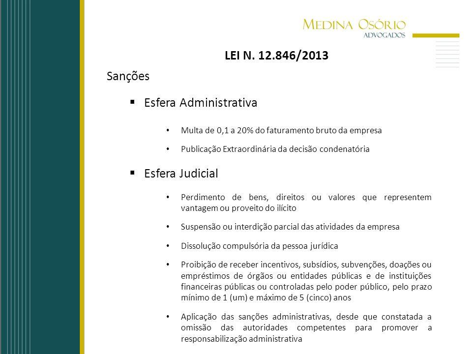 LEI N. 12.846/2013 Sanções Esfera Administrativa Multa de 0,1 a 20% do faturamento bruto da empresa Publicação Extraordinária da decisão condenatória