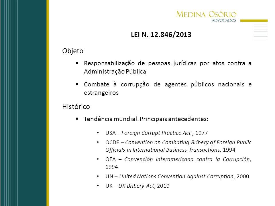LEI N. 12.846/2013 Objeto Responsabilização de pessoas jurídicas por atos contra a Administração Pública Combate à corrupção de agentes públicos nacio