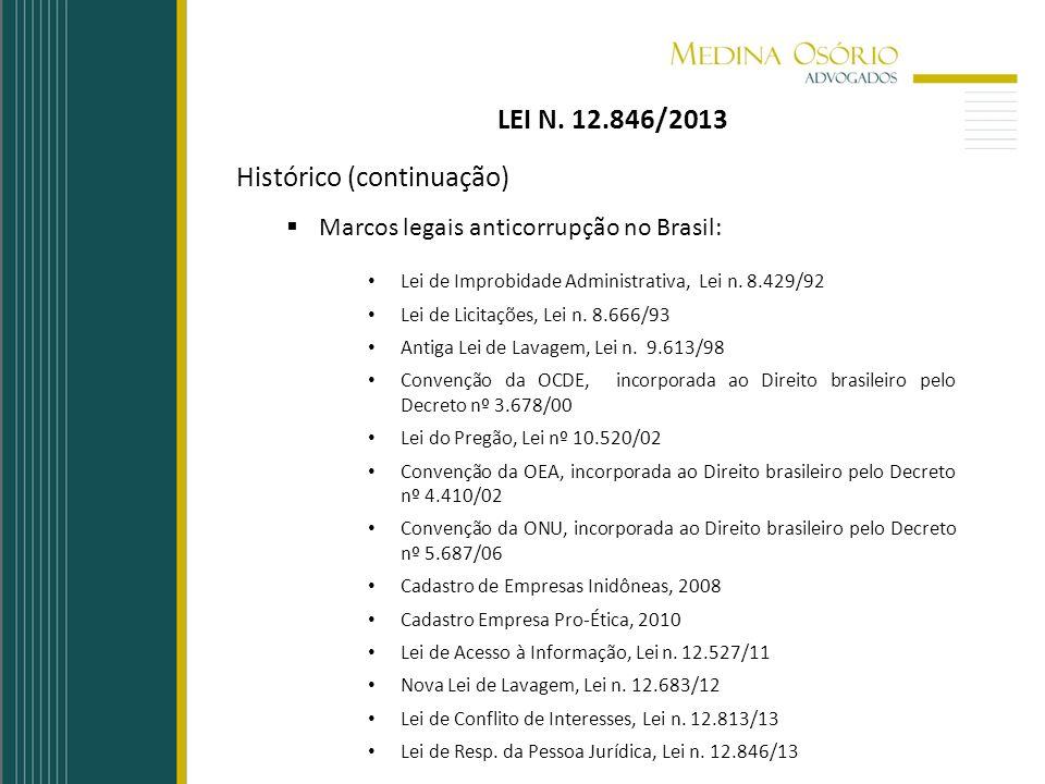 Histórico (continuação) Marcos legais anticorrupção no Brasil: Lei de Improbidade Administrativa, Lei n. 8.429/92 Lei de Licitações, Lei n. 8.666/93 A
