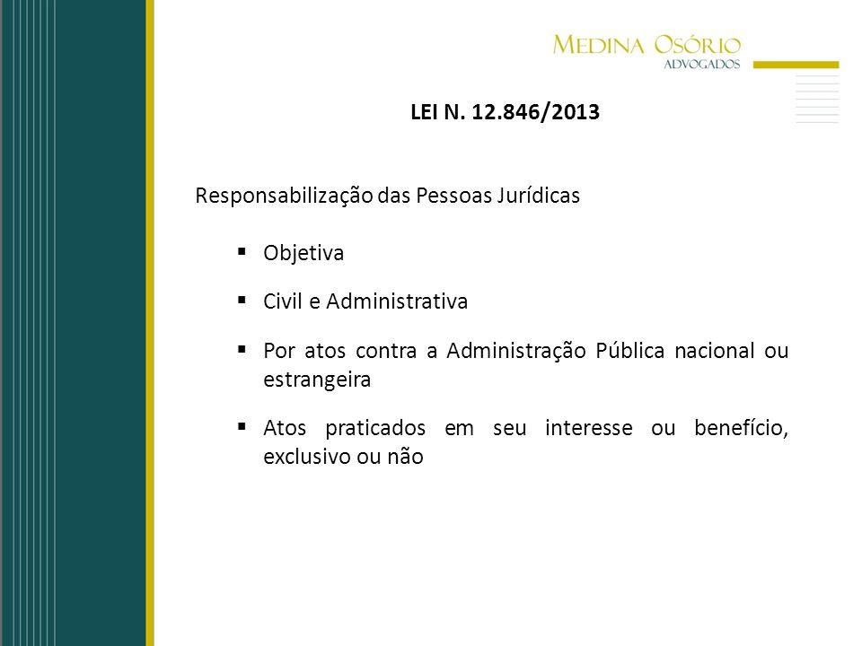 LEI N. 12.846/2013 Responsabilização das Pessoas Jurídicas Objetiva Civil e Administrativa Por atos contra a Administração Pública nacional ou estrang