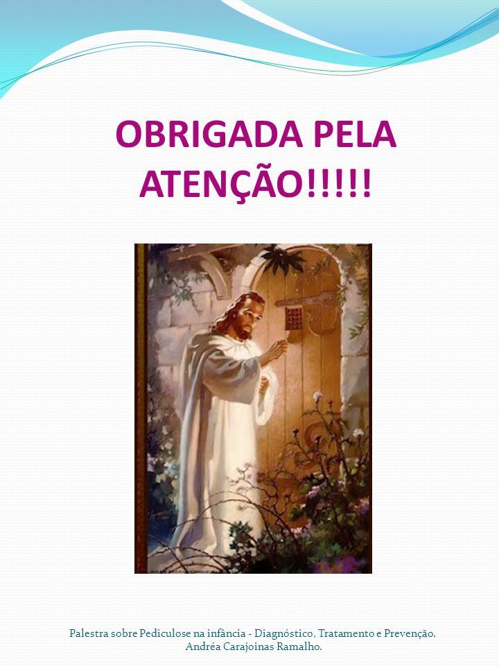 OBRIGADA PELA ATENÇÃO!!!!! Palestra sobre Pediculose na infância - Diagnóstico, Tratamento e Prevenção. Andréa Carajoinas Ramalho.