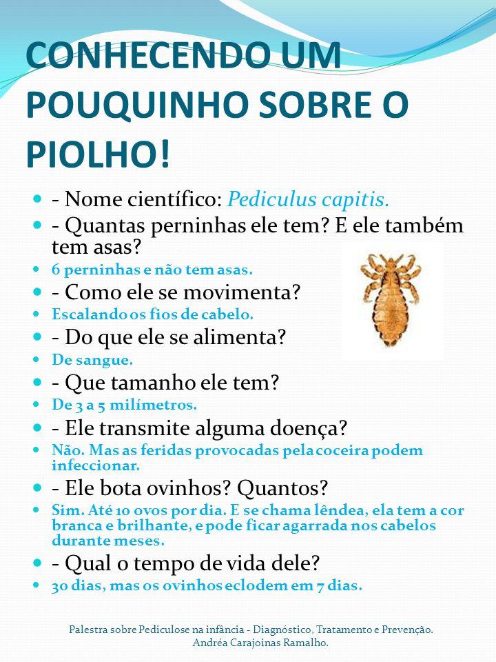 CONHECENDO UM POUQUINHO SOBRE O PIOLHO.- Nome científico: Pediculus capitis.