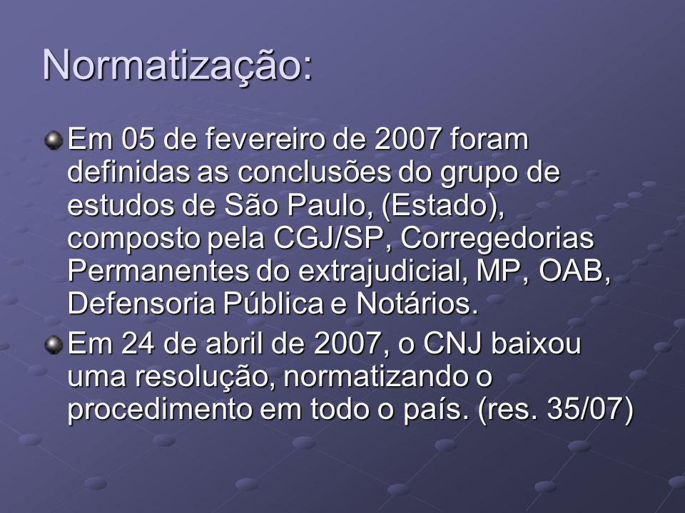 Normatização: Em 05 de fevereiro de 2007 foram definidas as conclusões do grupo de estudos de São Paulo, (Estado), composto pela CGJ/SP, Corregedorias Permanentes do extrajudicial, MP, OAB, Defensoria Pública e Notários.