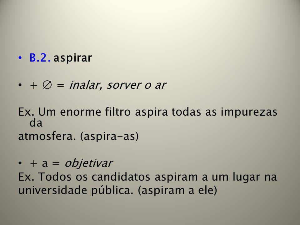 B.2. aspirar + = inalar, sorver o ar Ex. Um enorme filtro aspira todas as impurezas da atmosfera. (aspira-as) + a = objetivar Ex. Todos os candidatos