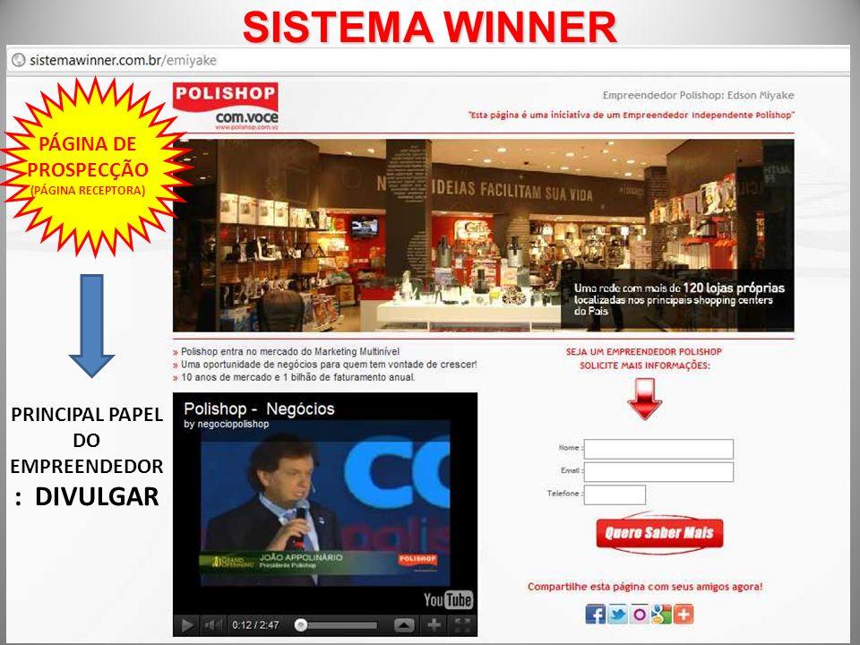 SISTEMA WINNER PÁGINA DE PROSPECÇÃO (PÁGINA RECEPTORA) PRINCIPAL PAPEL DO EMPREENDEDOR : DIVULGAR