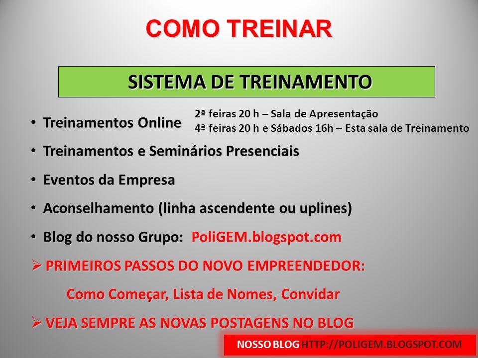 SISTEMA DE TREINAMENTO Treinamentos Online Treinamentos Online Treinamentos e Seminários Presenciais Treinamentos e Seminários Presenciais Eventos da