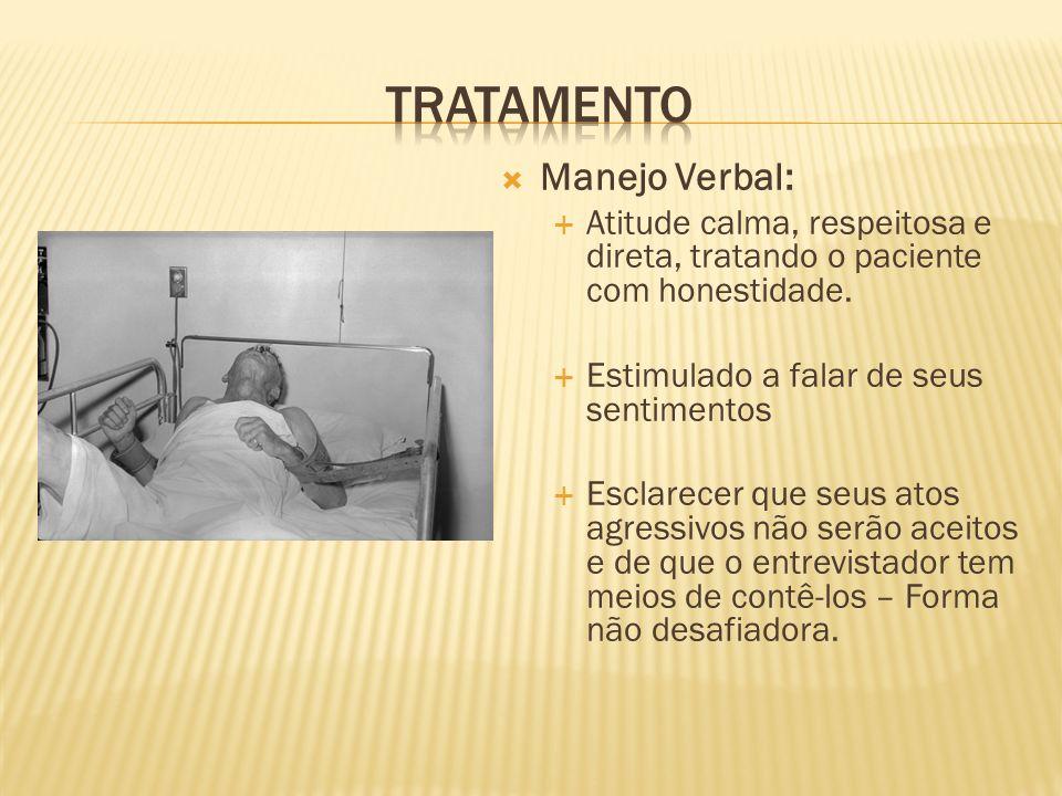 Manejo Verbal: Atitude calma, respeitosa e direta, tratando o paciente com honestidade. Estimulado a falar de seus sentimentos Esclarecer que seus ato
