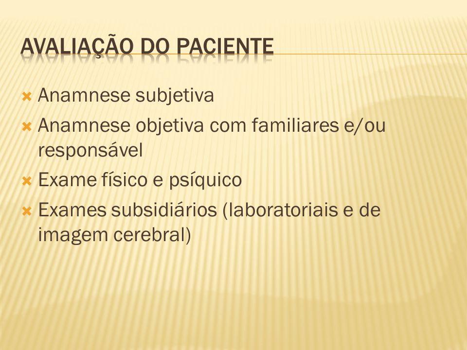 Anamnese subjetiva Anamnese objetiva com familiares e/ou responsável Exame físico e psíquico Exames subsidiários (laboratoriais e de imagem cerebral)
