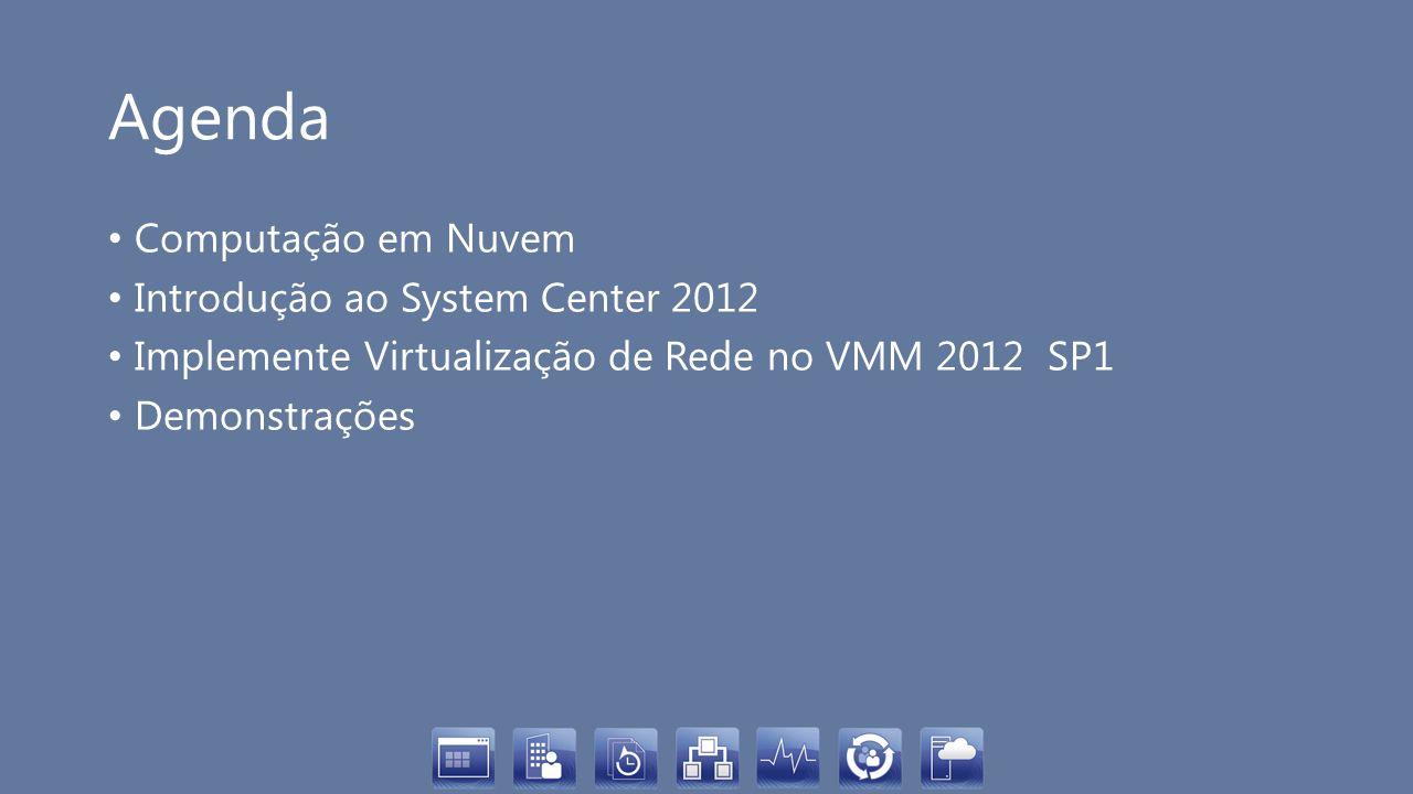 Agenda Computação em Nuvem Introdução ao System Center 2012 Implemente Virtualização de Rede no VMM 2012 SP1 Demonstrações