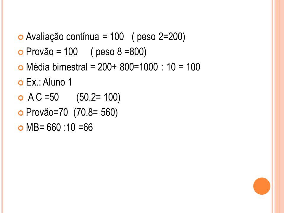 Avaliação contínua = 100 ( peso 2=200) Provão = 100 ( peso 8 =800) Média bimestral = 200+ 800=1000 : 10 = 100 Ex.: Aluno 1 A C =50 (50.2= 100) Provão=70 (70.8= 560) MB= 660 :10 =66