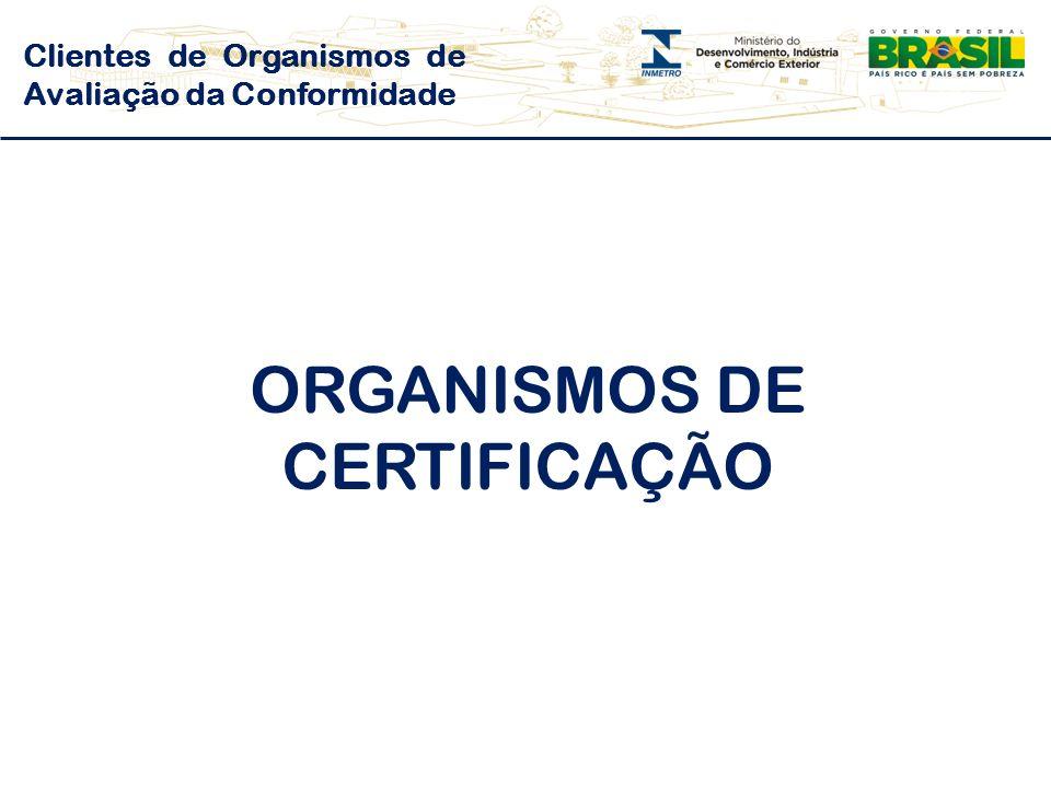 Clientes de Organismos de Avaliação da Conformidade ORGANISMOS DE CERTIFICAÇÃO