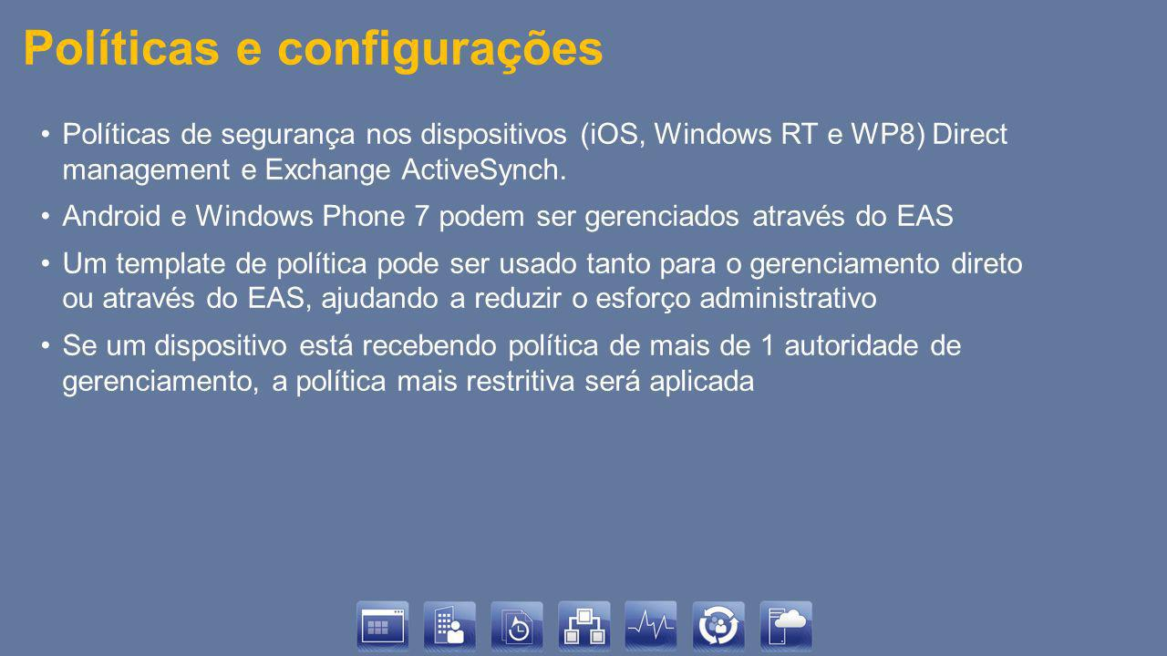 Políticas e configurações Políticas de segurança nos dispositivos (iOS, Windows RT e WP8) Direct management e Exchange ActiveSynch.