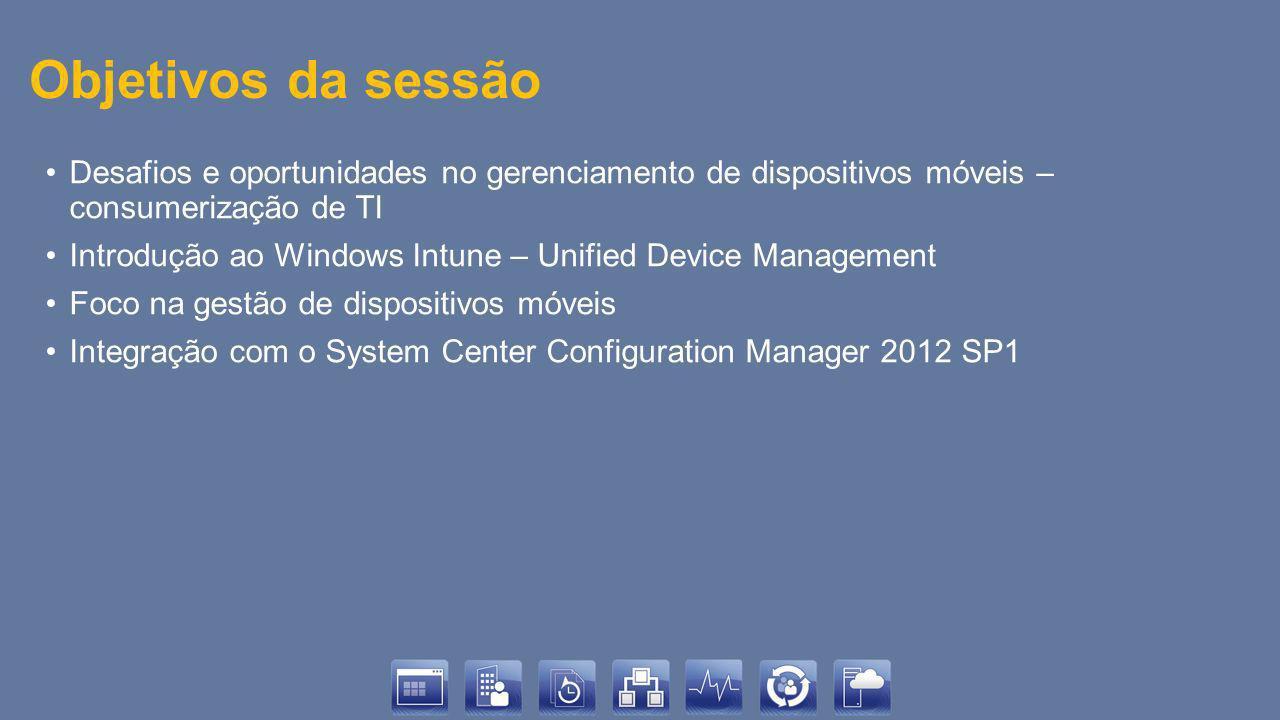Objetivos da sessão Desafios e oportunidades no gerenciamento de dispositivos móveis – consumerização de TI Introdução ao Windows Intune – Unified Dev