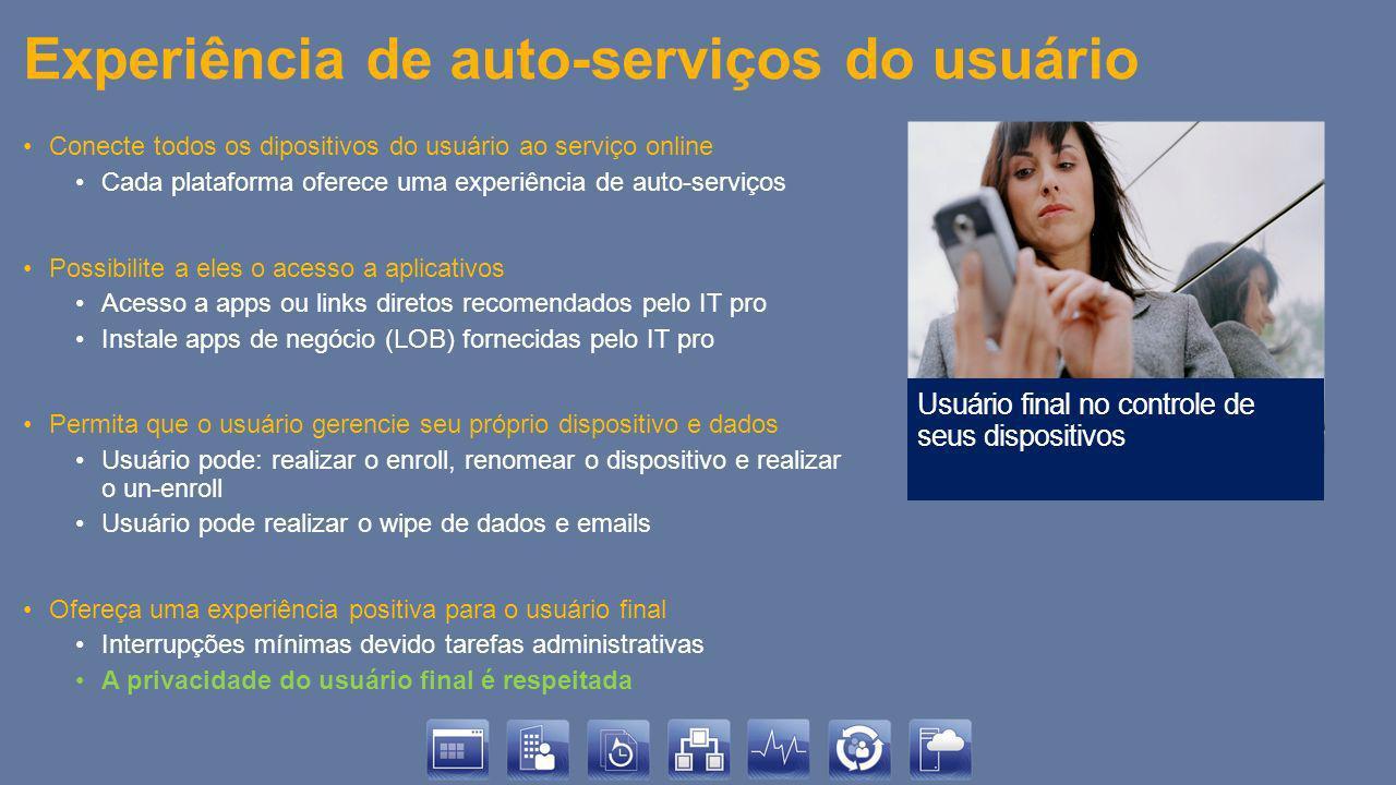 Experiência de auto-serviços do usuário Conecte todos os dipositivos do usuário ao serviço online Cada plataforma oferece uma experiência de auto-serv