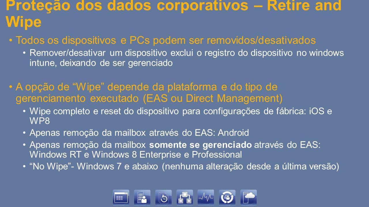 Proteção dos dados corporativos – Retire and Wipe Todos os dispositivos e PCs podem ser removidos/desativados Remover/desativar um dispositivo exclui