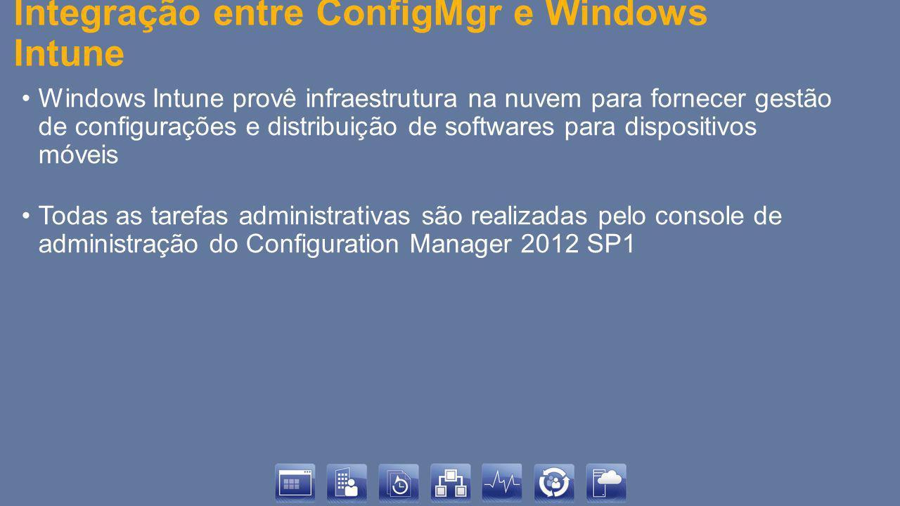 Integração entre ConfigMgr e Windows Intune Windows Intune provê infraestrutura na nuvem para fornecer gestão de configurações e distribuição de softw