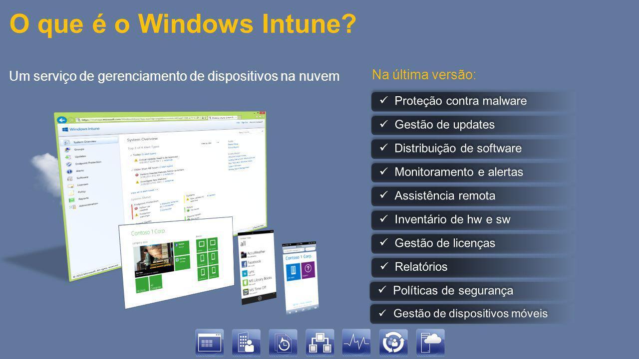 Integração entre ConfigMgr e Windows Intune Windows Intune provê infraestrutura na nuvem para fornecer gestão de configurações e distribuição de softwares para dispositivos móveis Todas as tarefas administrativas são realizadas pelo console de administração do Configuration Manager 2012 SP1