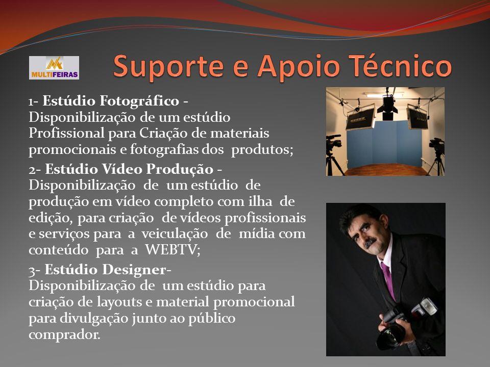 1- Estúdio Fotográfico - Disponibilização de um estúdio Profissional para Criação de materiais promocionais e fotografias dos produtos; 2- Estúdio Víd