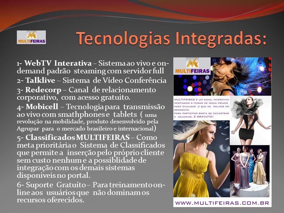 1- WebTV Interativa – Sistema ao vivo e on- demand padrão steaming com servidor full 2- Talklive – Sistema de Vídeo Conferência 3- Redecorp – Canal de