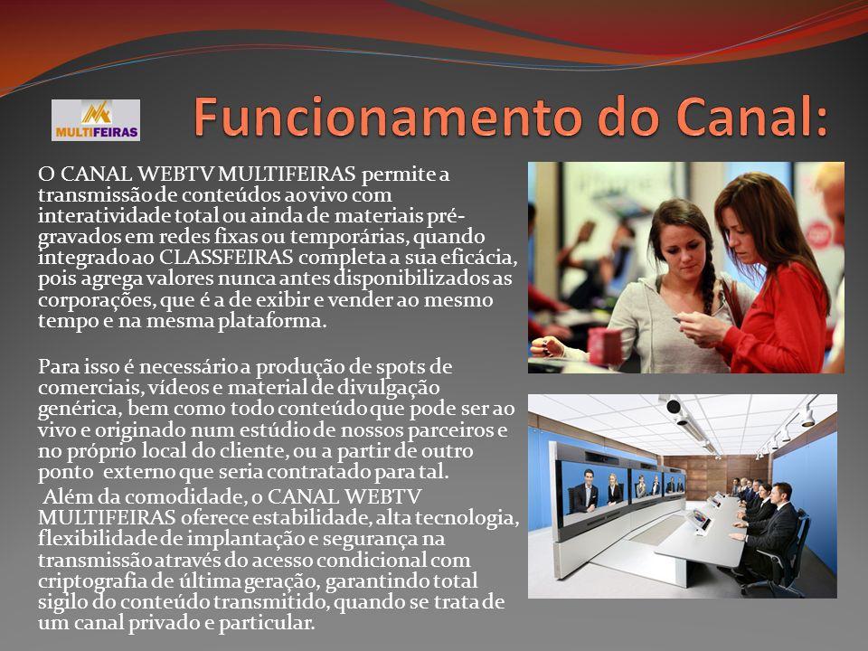 O CANAL WEBTV MULTIFEIRAS permite a transmissão de conteúdos ao vivo com interatividade total ou ainda de materiais pré- gravados em redes fixas ou te