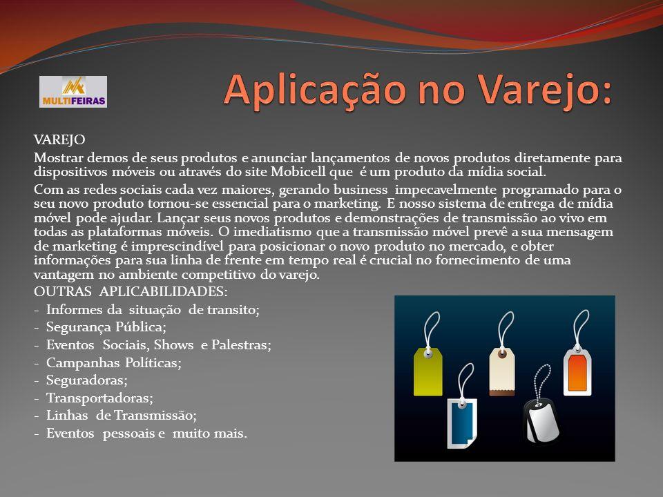 VAREJO Mostrar demos de seus produtos e anunciar lançamentos de novos produtos diretamente para dispositivos móveis ou através do site Mobicell que é