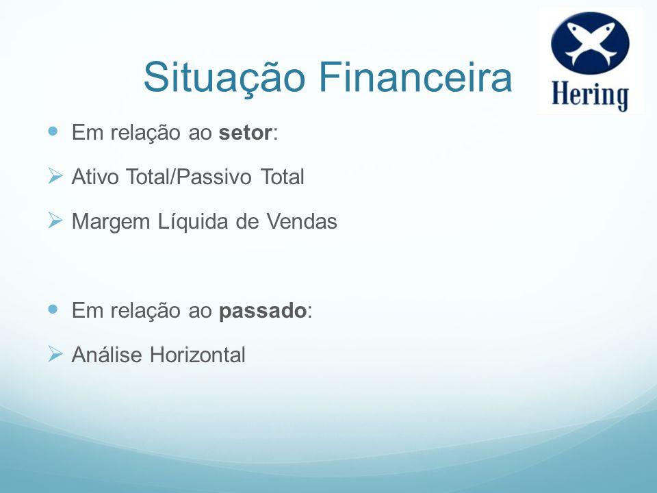 Situação Financeira Em relação ao setor: Ativo Total/Passivo Total Margem Líquida de Vendas Em relação ao passado: Análise Horizontal