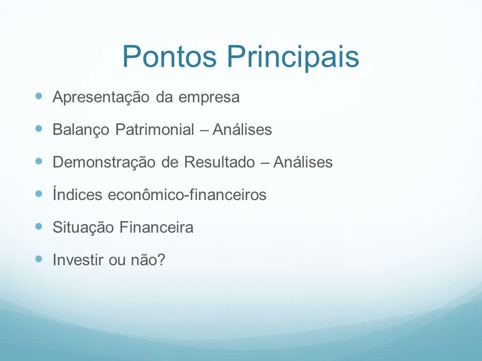 Pontos Principais Apresentação da empresa Balanço Patrimonial – Análises Demonstração de Resultado – Análises Índices econômico-financeiros Situação F