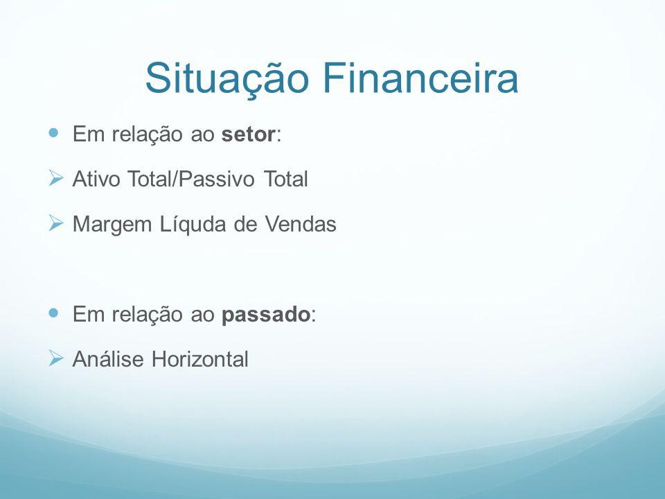 Situação Financeira Em relação ao setor: Ativo Total/Passivo Total Margem Líquda de Vendas Em relação ao passado: Análise Horizontal