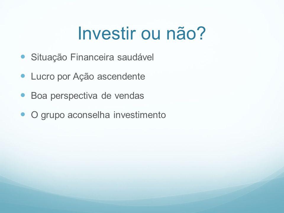 Investir ou não? Situação Financeira saudável Lucro por Ação ascendente Boa perspectiva de vendas O grupo aconselha investimento