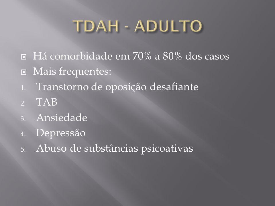 Há comorbidade em 70% a 80% dos casos Mais frequentes: 1. Transtorno de oposição desafiante 2. TAB 3. Ansiedade 4. Depressão 5. Abuso de substâncias p