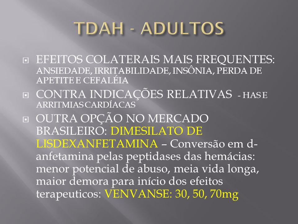 EFEITOS COLATERAIS MAIS FREQUENTES: ANSIEDADE, IRRITABILIDADE, INSÔNIA, PERDA DE APETITE E CEFALÉIA CONTRA INDICAÇÕES RELATIVAS - HAS E ARRITMIAS CARD