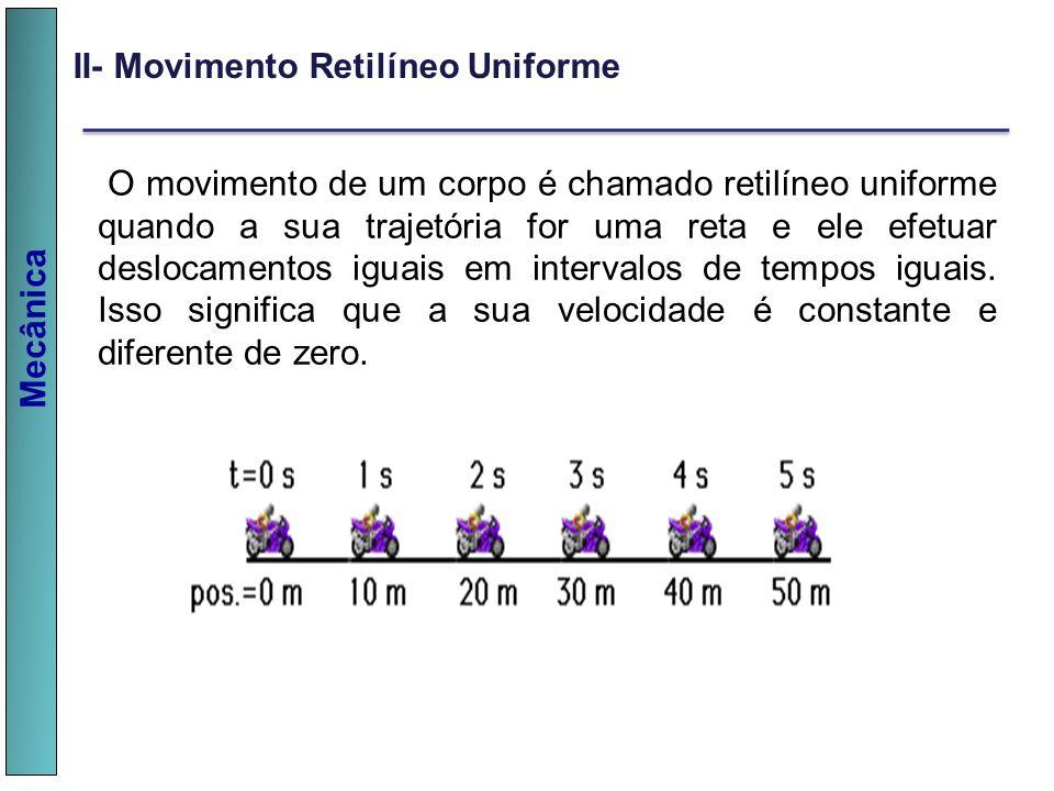 Mecânica II- Movimento Retilíneo Uniforme O movimento de um corpo é chamado retilíneo uniforme quando a sua trajetória for uma reta e ele efetuar desl