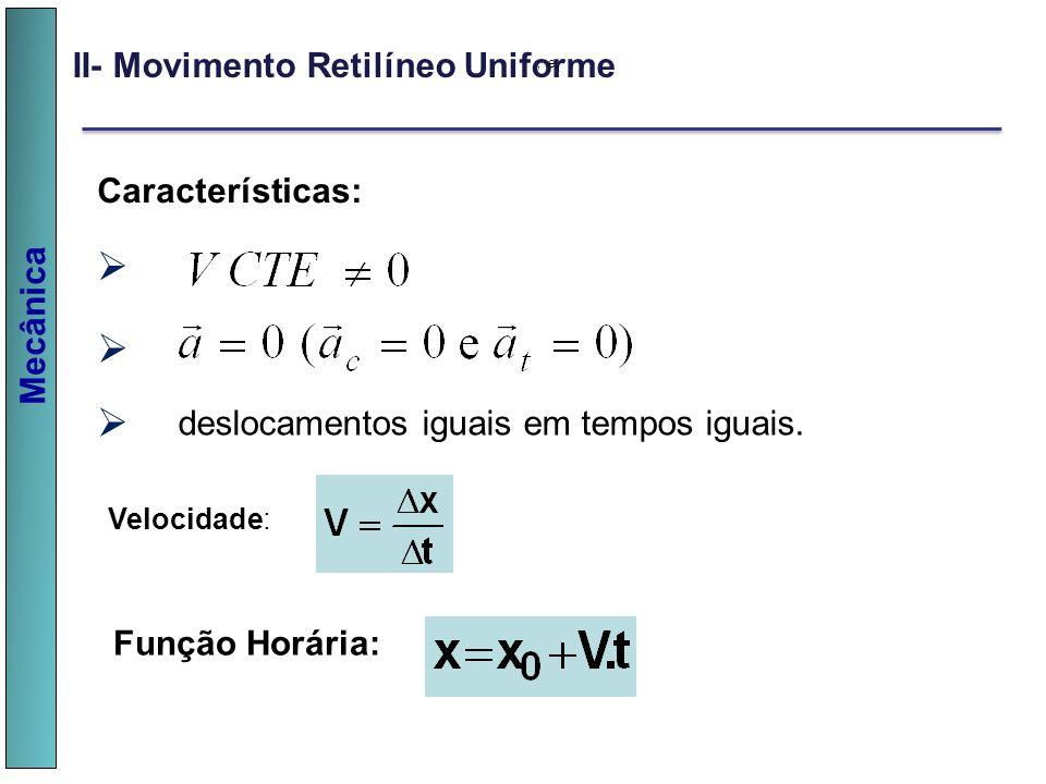 Mecânica II- Movimento Retilíneo Uniforme, e, Características: deslocamentos iguais em tempos iguais. v v v Velocidade: Função Horária: