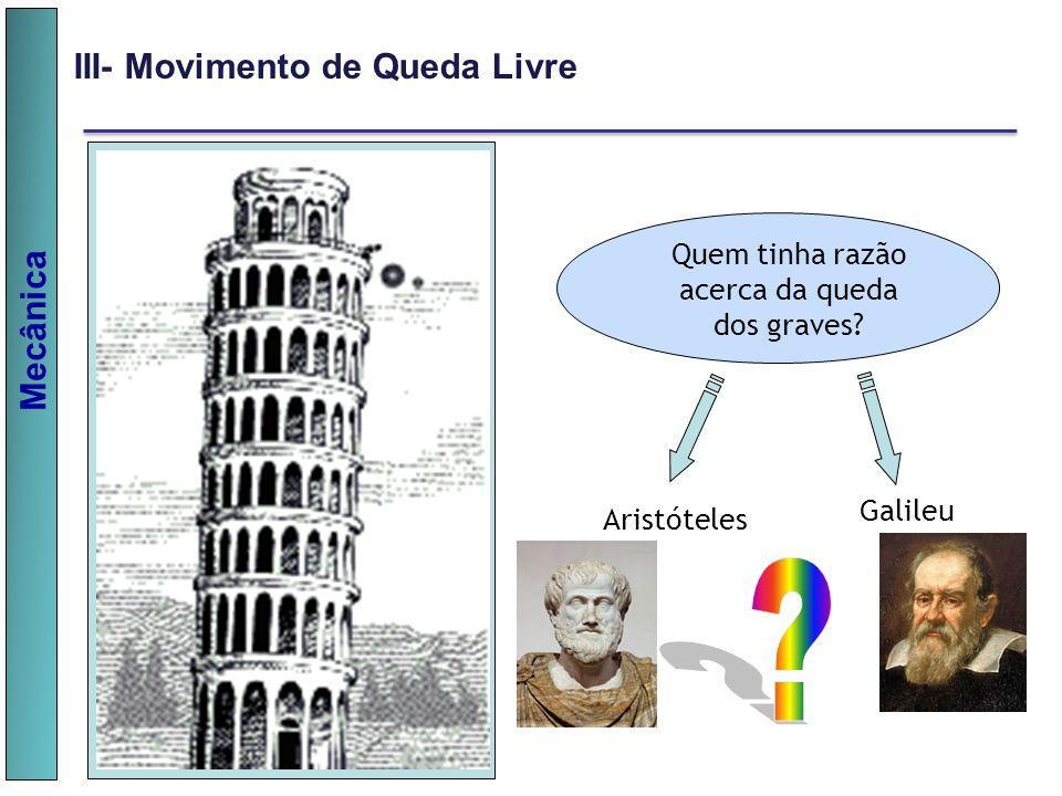 Mecânica III- Movimento de Queda Livre Quem tinha razão acerca da queda dos graves? Galileu Aristóteles