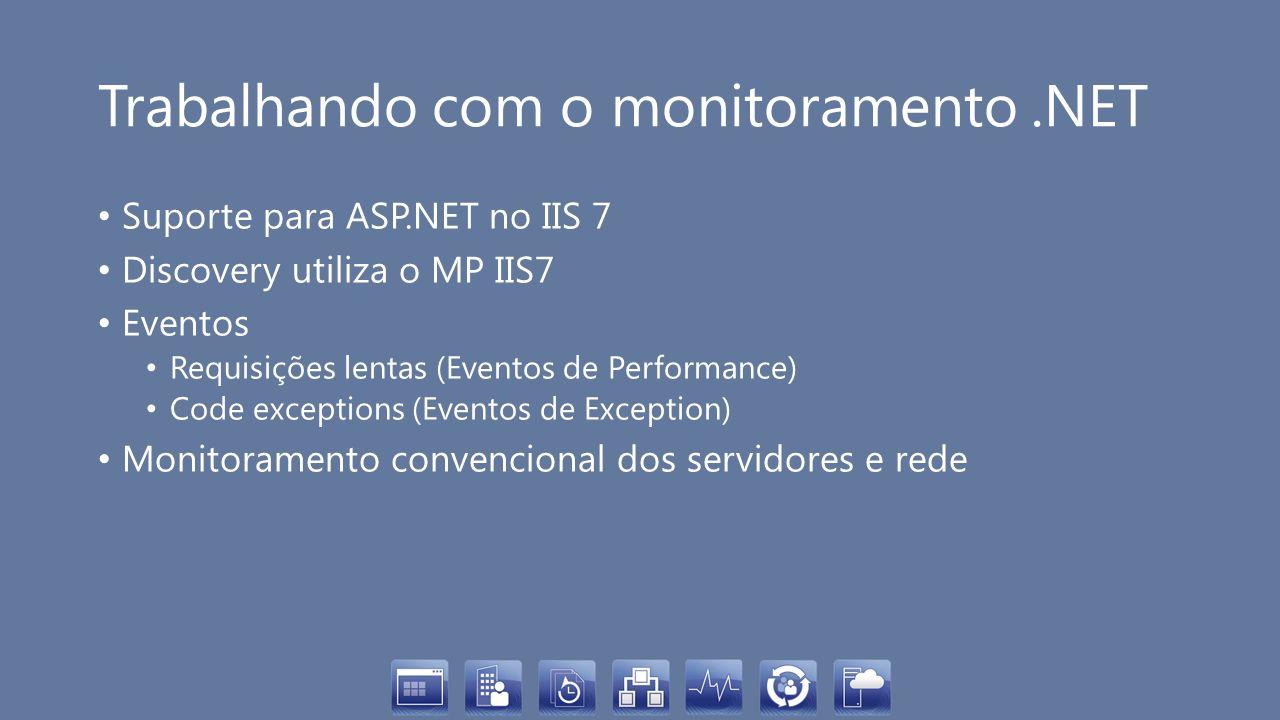 Trabalhando com o monitoramento.NET Suporte para ASP.NET no IIS 7 Discovery utiliza o MP IIS7 Eventos Requisições lentas (Eventos de Performance) Code