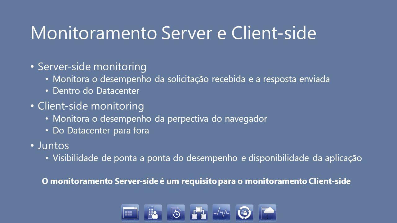 Monitoramento Server e Client-side Server-side monitoring Monitora o desempenho da solicitação recebida e a resposta enviada Dentro do Datacenter Clie