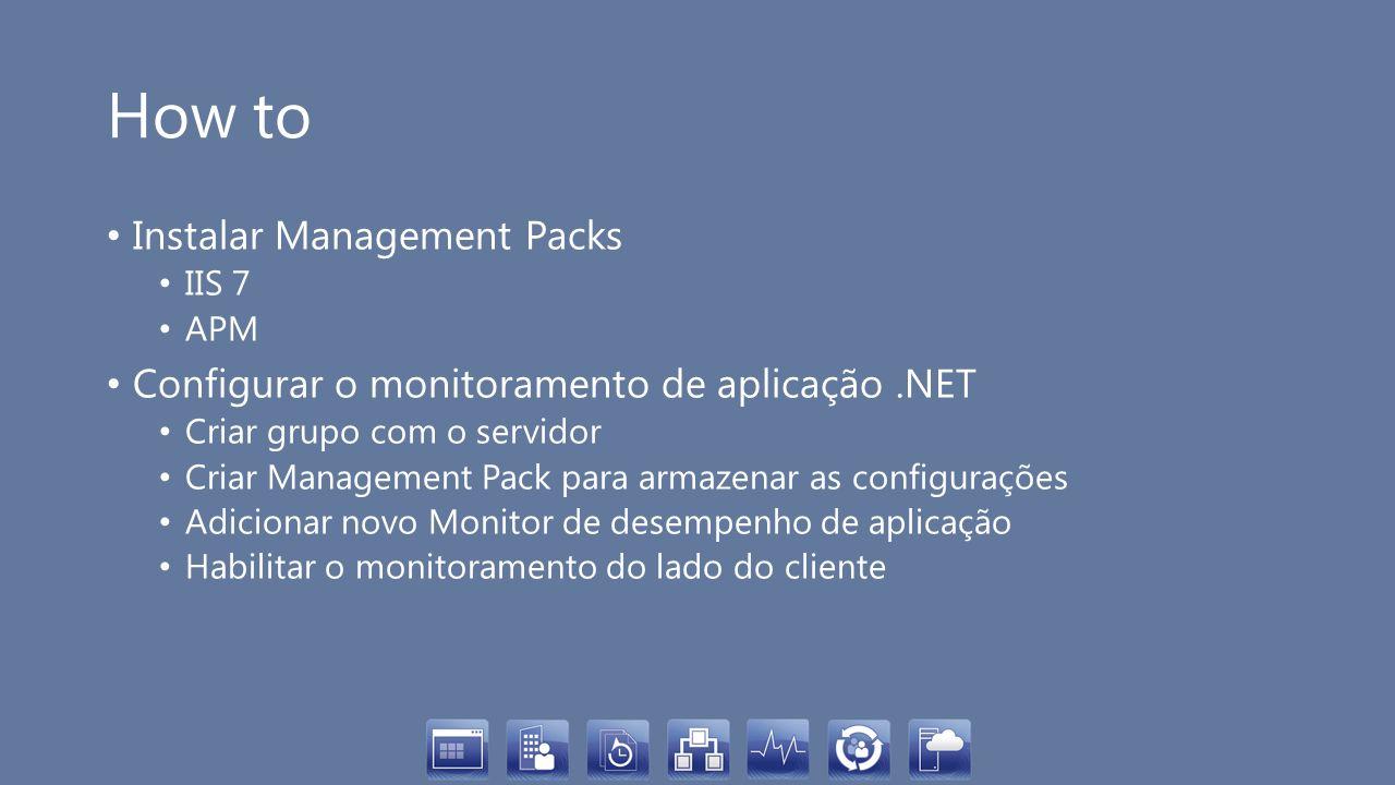 How to Instalar Management Packs IIS 7 APM Configurar o monitoramento de aplicação.NET Criar grupo com o servidor Criar Management Pack para armazenar