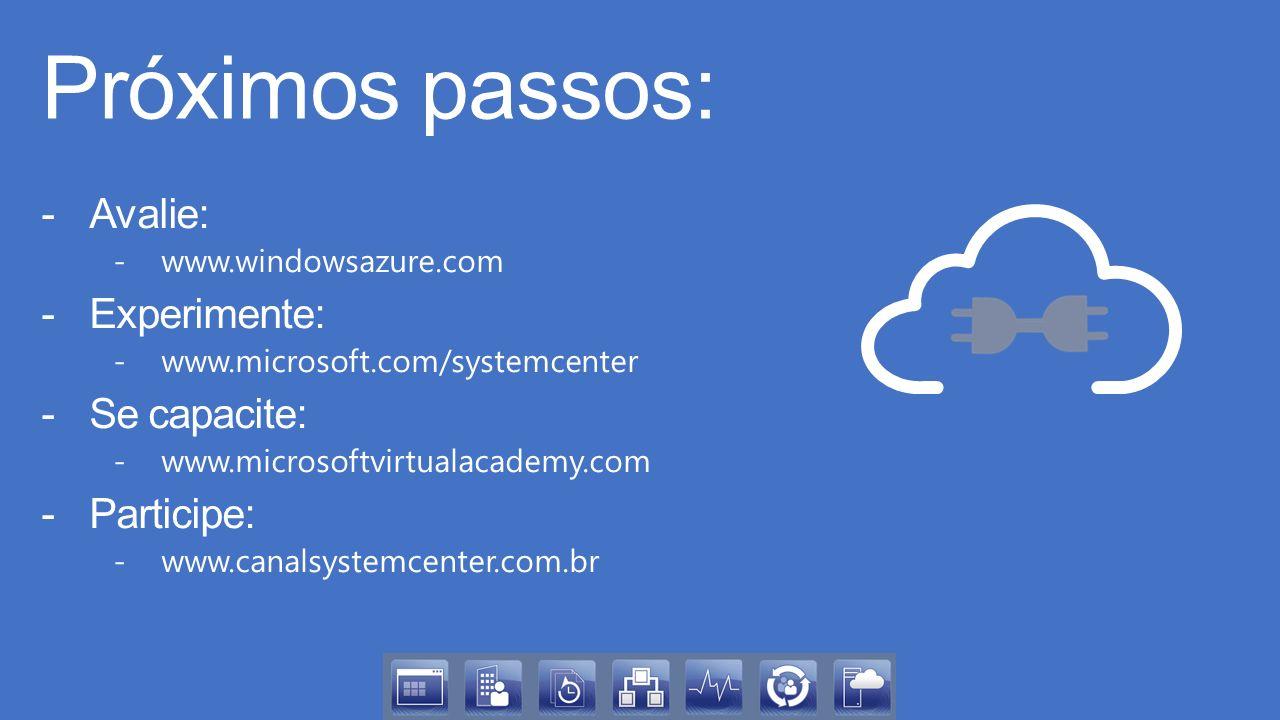 Próximos passos: -Avalie: -www.windowsazure.com -Experimente: -www.microsoft.com/systemcenter -Se capacite: -www.microsoftvirtualacademy.com -Participe: -www.canalsystemcenter.com.br