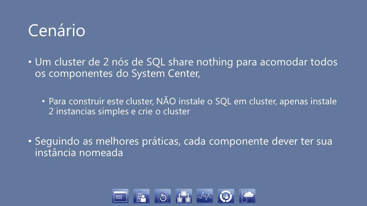 Cenário Um cluster de 2 nós de SQL share nothing para acomodar todos os componentes do System Center, Para construir este cluster, NÃO instale o SQL e