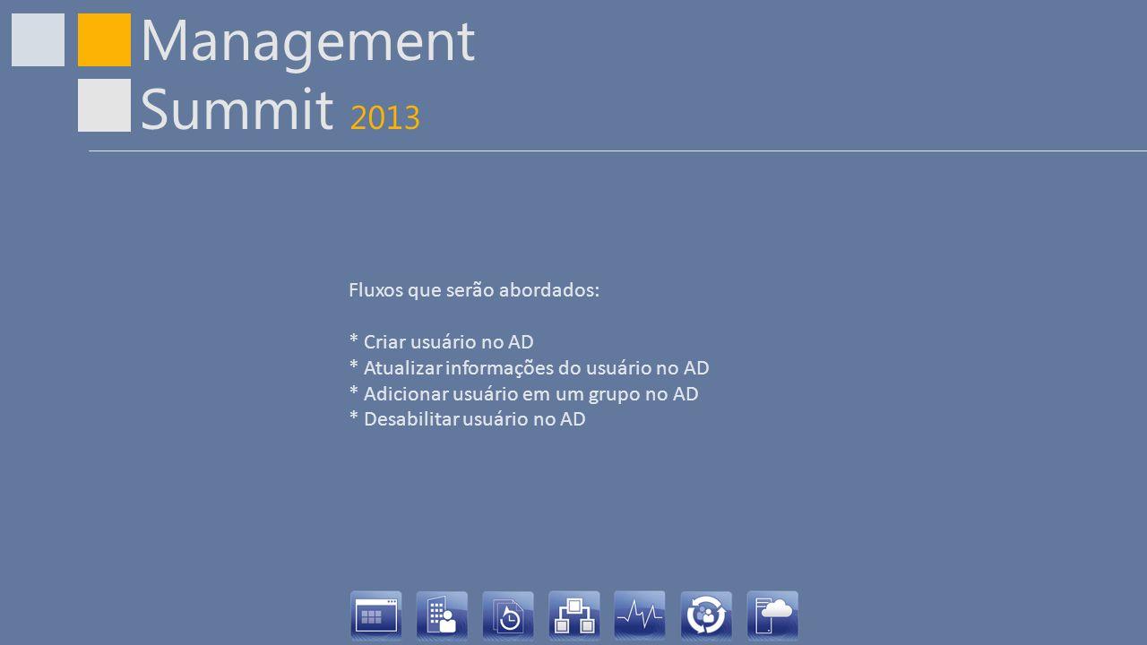 Management Summit 2013 Fluxos que serão abordados: * Criar usuário no AD * Atualizar informações do usuário no AD * Adicionar usuário em um grupo no A