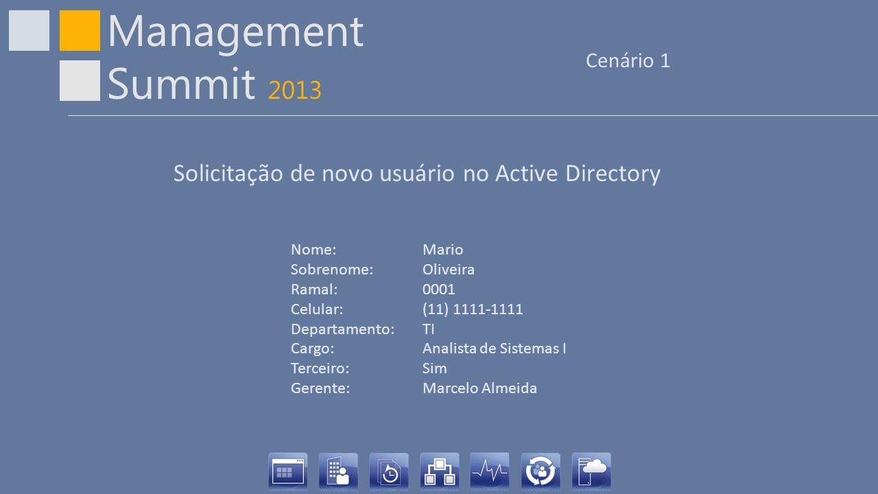 Management Summit 2013 Cenário 1 Nome: Mario Sobrenome:Oliveira Ramal:0001 Celular:(11) 1111-1111 Departamento:TI Cargo:Analista de Sistemas I Terceir