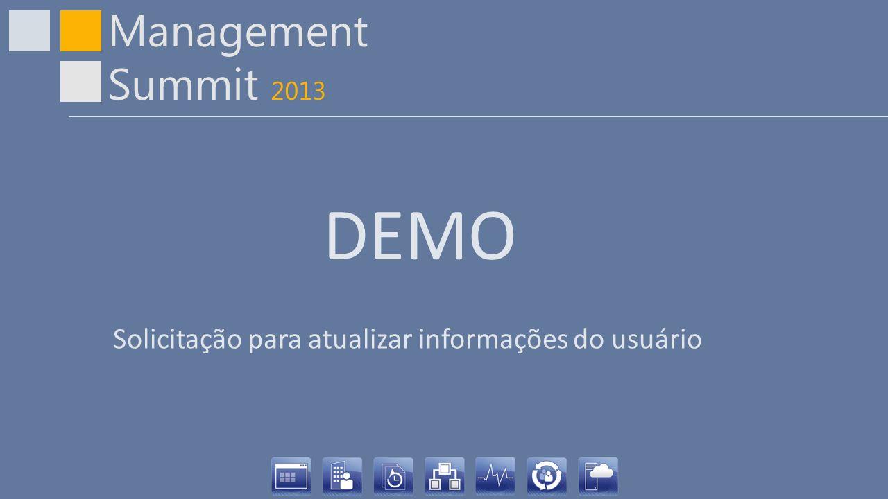 Management Summit 2013 DEMO Solicitação para atualizar informações do usuário