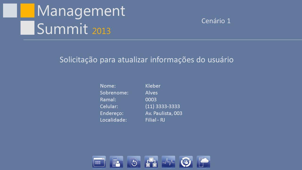 Management Summit 2013 Cenário 1 Nome: Kleber Sobrenome:Alves Ramal:0003 Celular:(11) 3333-3333 Endereço:Av. Paulista, 003 Localidade:Filial - RJ Soli