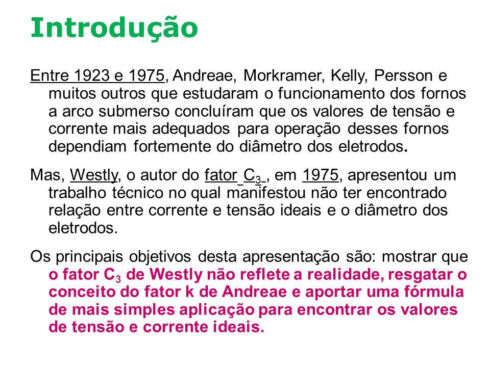 Introdução Entre 1923 e 1975, Andreae, Morkramer, Kelly, Persson e muitos outros que estudaram o funcionamento dos fornos a arco submerso concluíram q